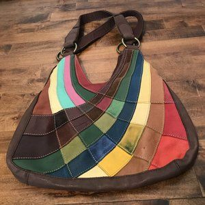 Pelle leather colorful patchwork hobo bag